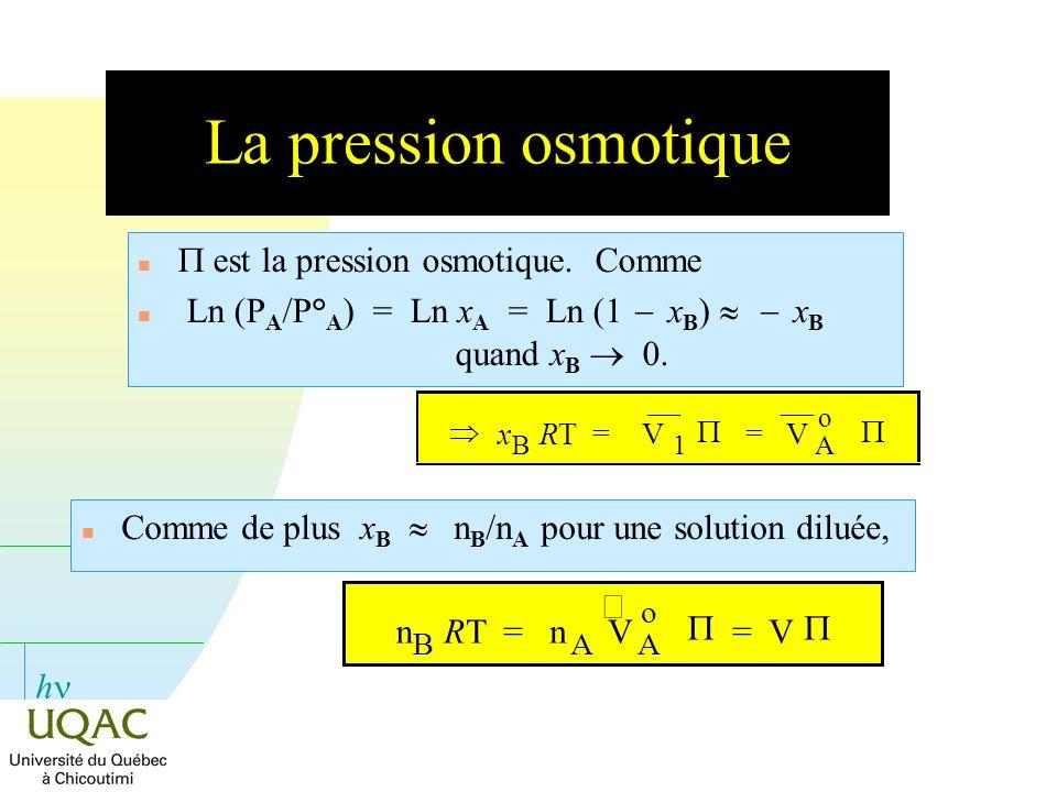 h La pression osmotique est la pression osmotique. Comme Ln (P A /P° A ) = Ln x A = Ln (1 x B ) x B quand x B 0. Comme de plus x B n B /n A pour une s