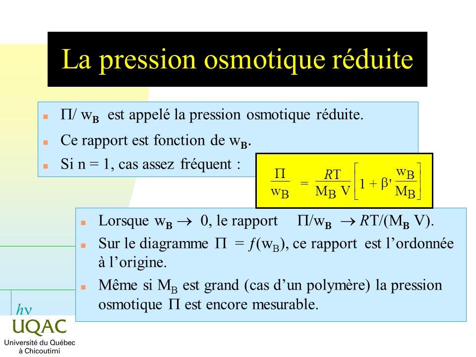 h La pression osmotique réduite Lorsque w B 0, le rapport /w B RT/(M B V). Sur le diagramme = ƒ(w B ), ce rapport est lordonnée à lorigine. Même si M