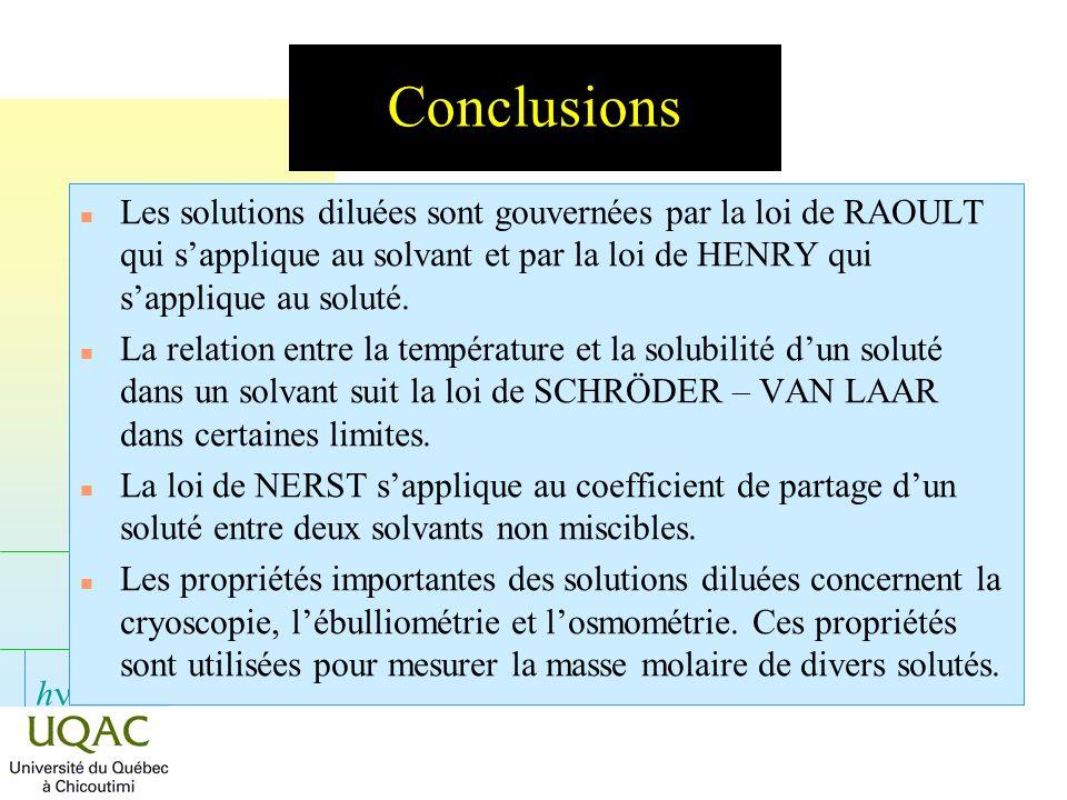 h Conclusions n Les solutions diluées sont gouvernées par la loi de RAOULT qui sapplique au solvant et par la loi de HENRY qui sapplique au soluté. n