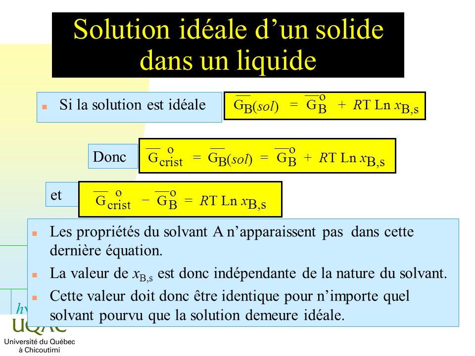 h Solution idéale dun solide dans un liquide n Si la solution est idéale n Les propriétés du solvant A napparaissent pas dans cette dernière équation.