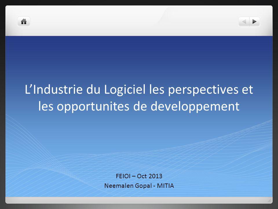 LIndustrie du Logiciel les perspectives et les opportunites de developpement FEIOI – Oct 2013 Neemalen Gopal - MITIA