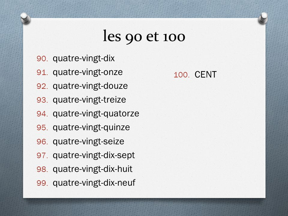 Les nombres au-dessus de 1.000 1.Note the way the numbers 1,000 and above are expressed in French.