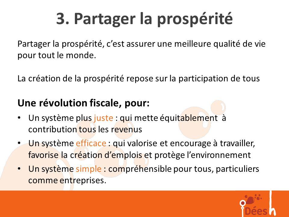 3. Partager la prospérité Partager la prospérité, cest assurer une meilleure qualité de vie pour tout le monde. La création de la prospérité repose su