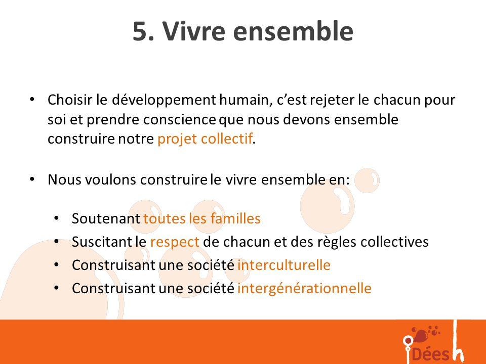 5. Vivre ensemble Choisir le développement humain, cest rejeter le chacun pour soi et prendre conscience que nous devons ensemble construire notre pro