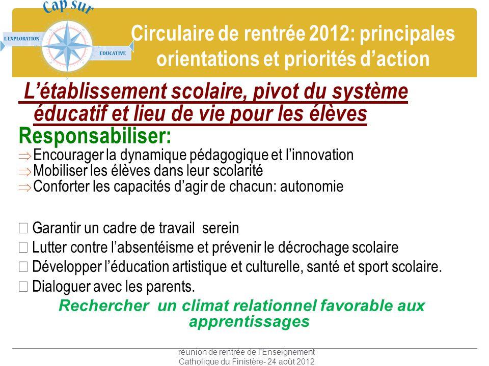 Circulaire de rentrée 2012: principales orientations et priorités daction Létablissement scolaire, pivot du système éducatif et lieu de vie pour les é