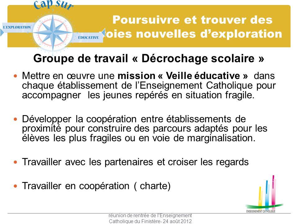 Poursuivre et trouver des voies nouvelles dexploration Groupe de travail « Décrochage scolaire » Mettre en œuvre une mission « Veille éducative » dans