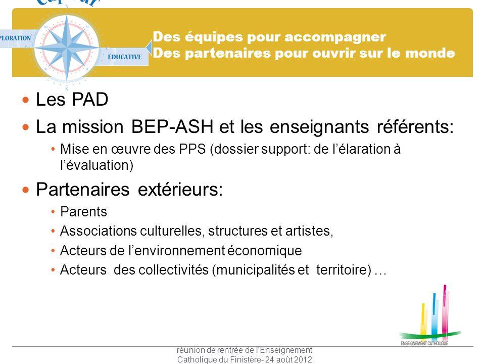 Des équipes pour accompagner Des partenaires pour ouvrir sur le monde Les PAD La mission BEP-ASH et les enseignants référents: Mise en œuvre des PPS (