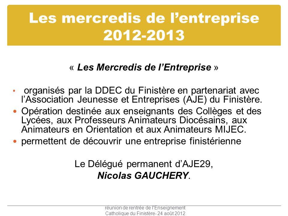 Les mercredis de lentreprise 2012-2013 « Les Mercredis de lEntreprise » organisés par la DDEC du Finistère en partenariat avec lAssociation Jeunesse e