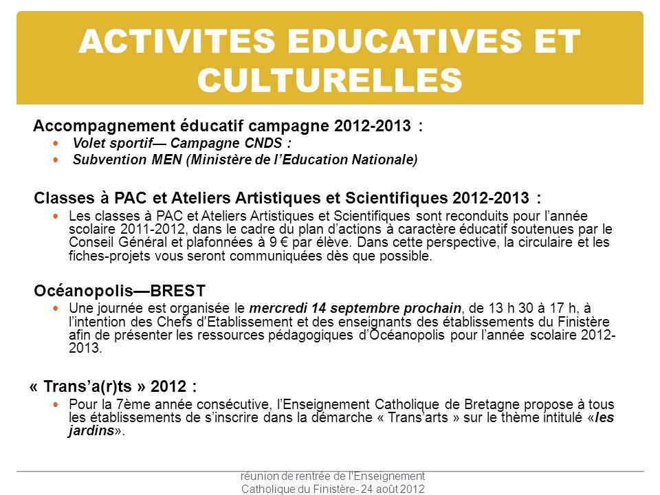 ACTIVITES EDUCATIVES ET CULTURELLES Accompagnement éducatif campagne 2012-2013 : Volet sportif Campagne CNDS : Subvention MEN (Ministère de lEducation