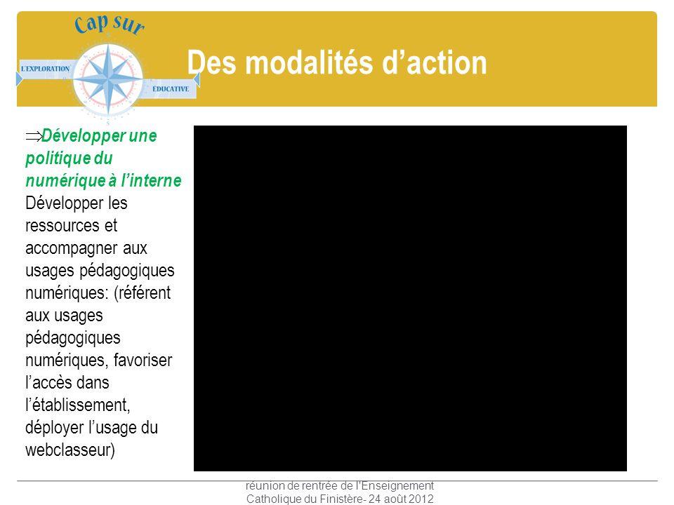 Des modalités daction réunion de rentrée de l'Enseignement Catholique du Finistère- 24 août 2012 Développer une politique du numérique à linterne Déve