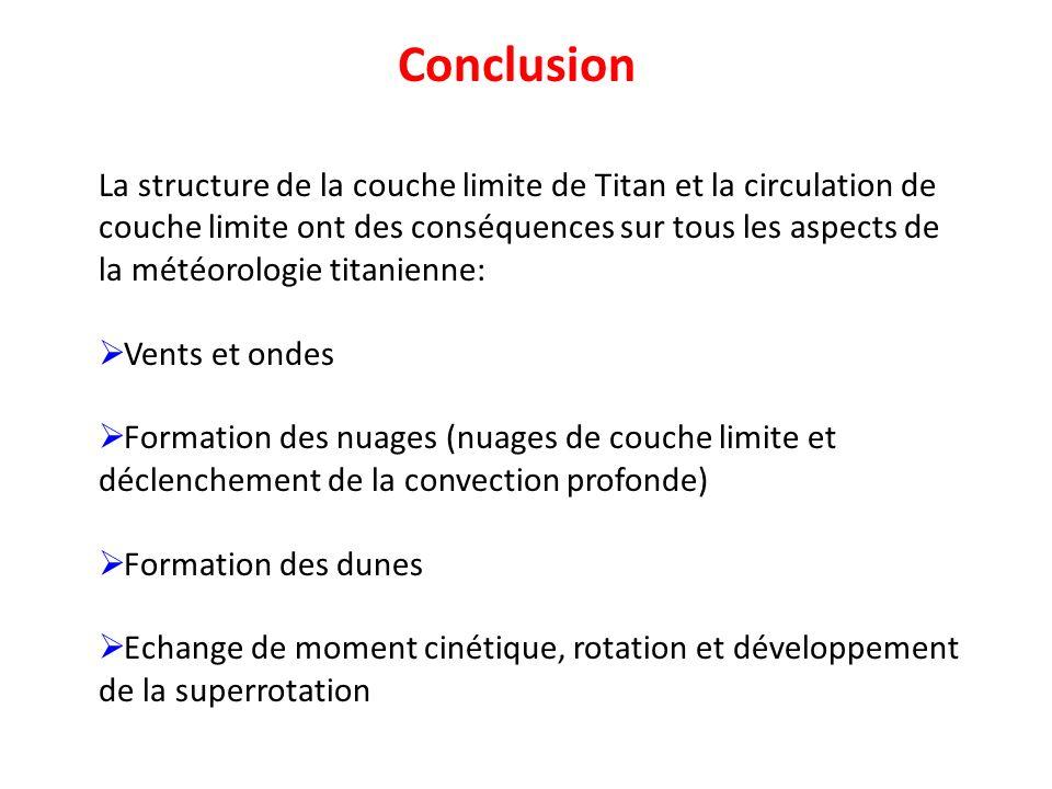 Conclusion La structure de la couche limite de Titan et la circulation de couche limite ont des conséquences sur tous les aspects de la météorologie t
