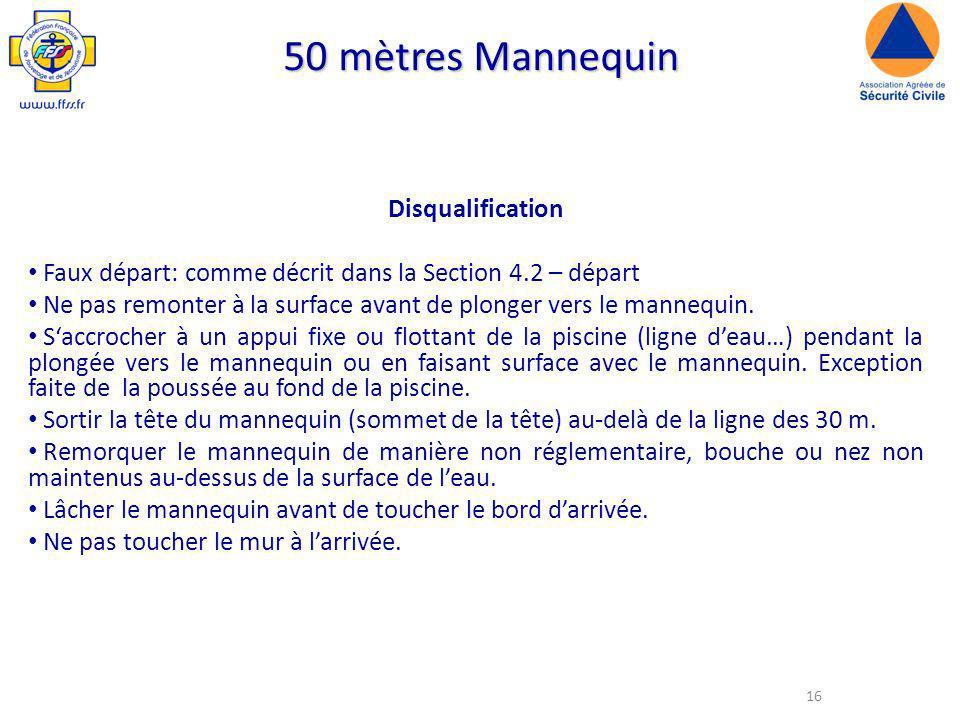 16 50 mètres Mannequin Disqualification Faux départ: comme décrit dans la Section 4.2 – départ Ne pas remonter à la surface avant de plonger vers le mannequin.