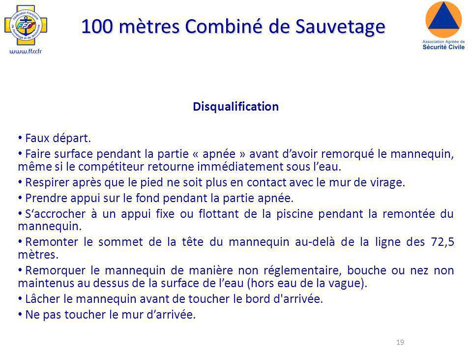 19 100 mètres Combiné de Sauvetage Disqualification Faux départ.
