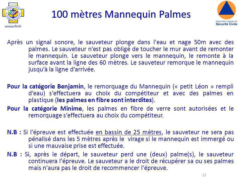 21 100 mètres Mannequin Palmes Après un signal sonore, le sauveteur plonge dans l eau et nage 50m avec des palmes.