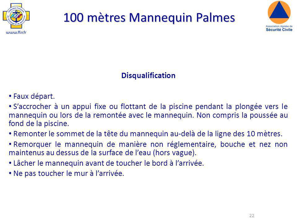 22 100 mètres Mannequin Palmes Disqualification Faux départ.