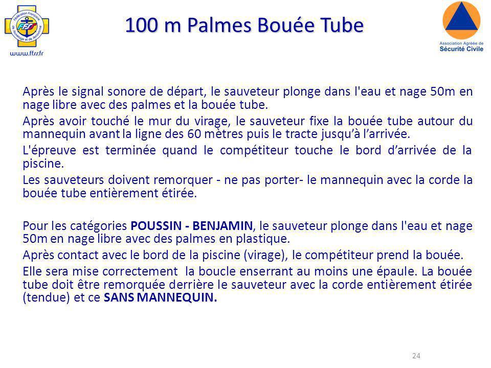 24 100 m Palmes Bouée Tube Après le signal sonore de départ, le sauveteur plonge dans l eau et nage 50m en nage libre avec des palmes et la bouée tube.