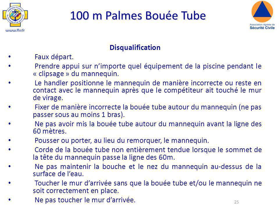 25 100 m Palmes Bouée Tube Disqualification Faux départ.