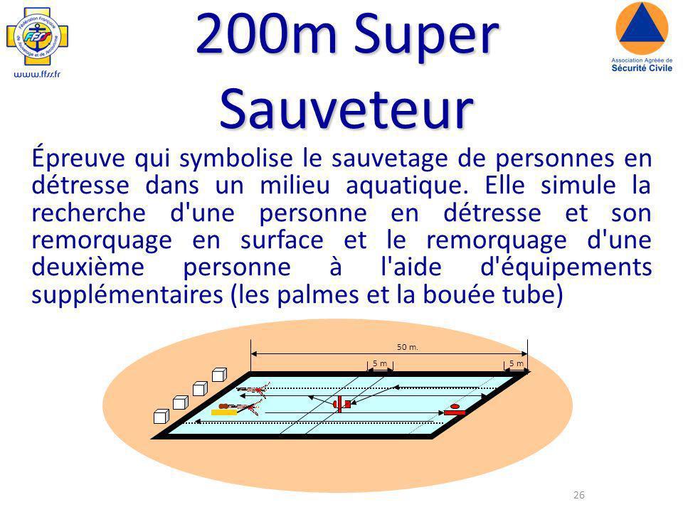 26 200m Super Sauveteur Épreuve qui symbolise le sauvetage de personnes en détresse dans un milieu aquatique.