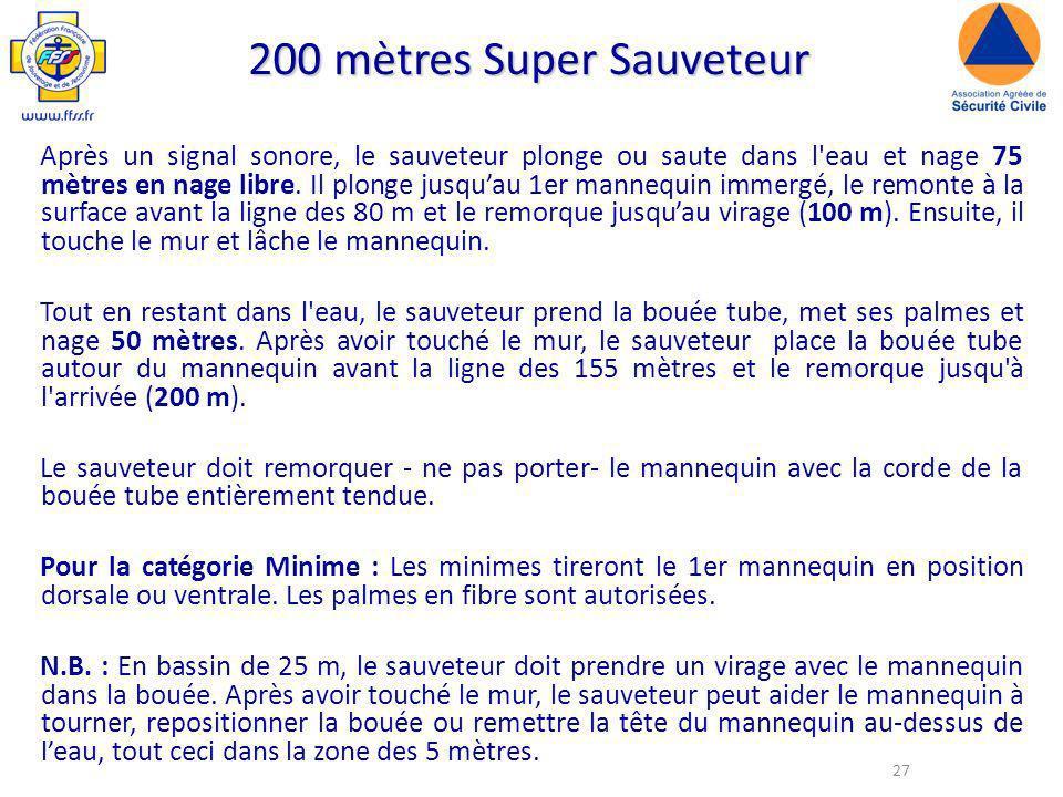 27 200 mètres Super Sauveteur Après un signal sonore, le sauveteur plonge ou saute dans l eau et nage 75 mètres en nage libre.