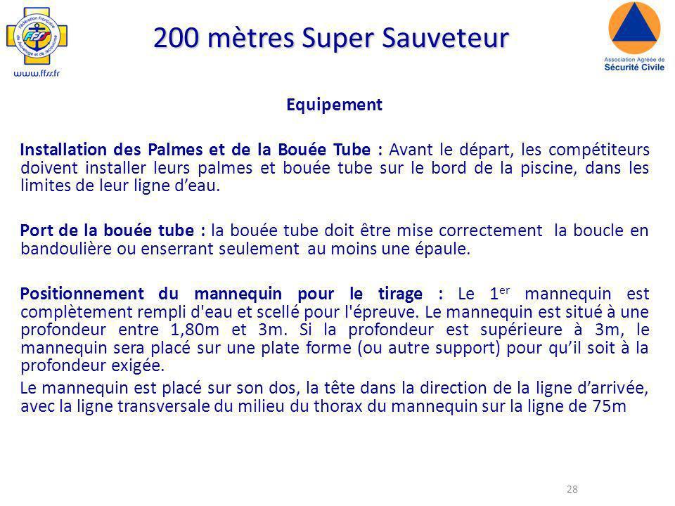 28 200 mètres Super Sauveteur Equipement Installation des Palmes et de la Bouée Tube : Avant le départ, les compétiteurs doivent installer leurs palmes et bouée tube sur le bord de la piscine, dans les limites de leur ligne deau.