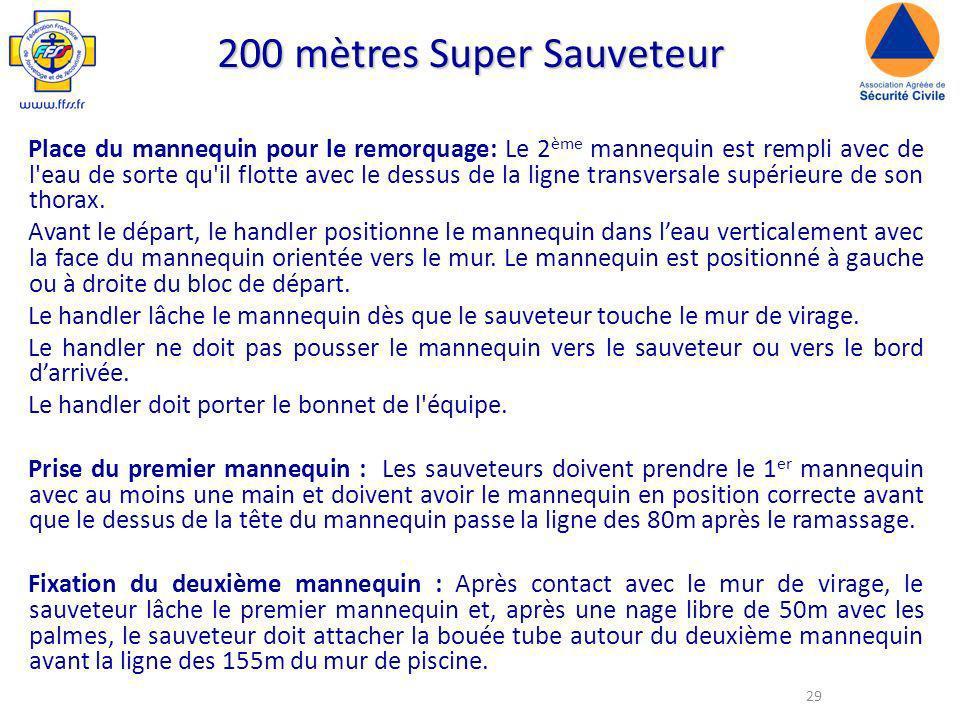 29 200 mètres Super Sauveteur Place du mannequin pour le remorquage: Le 2 ème mannequin est rempli avec de l eau de sorte qu il flotte avec le dessus de la ligne transversale supérieure de son thorax.