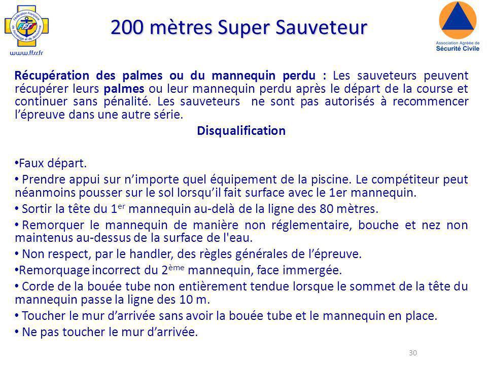 30 200 mètres Super Sauveteur Récupération des palmes ou du mannequin perdu : Les sauveteurs peuvent récupérer leurs palmes ou leur mannequin perdu après le départ de la course et continuer sans pénalité.