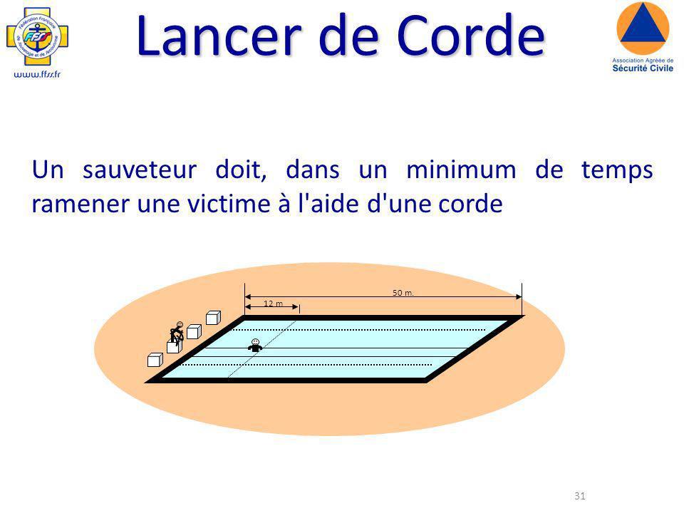 31 Lancer de Corde Un sauveteur doit, dans un minimum de temps ramener une victime à l aide d une corde 50 m.