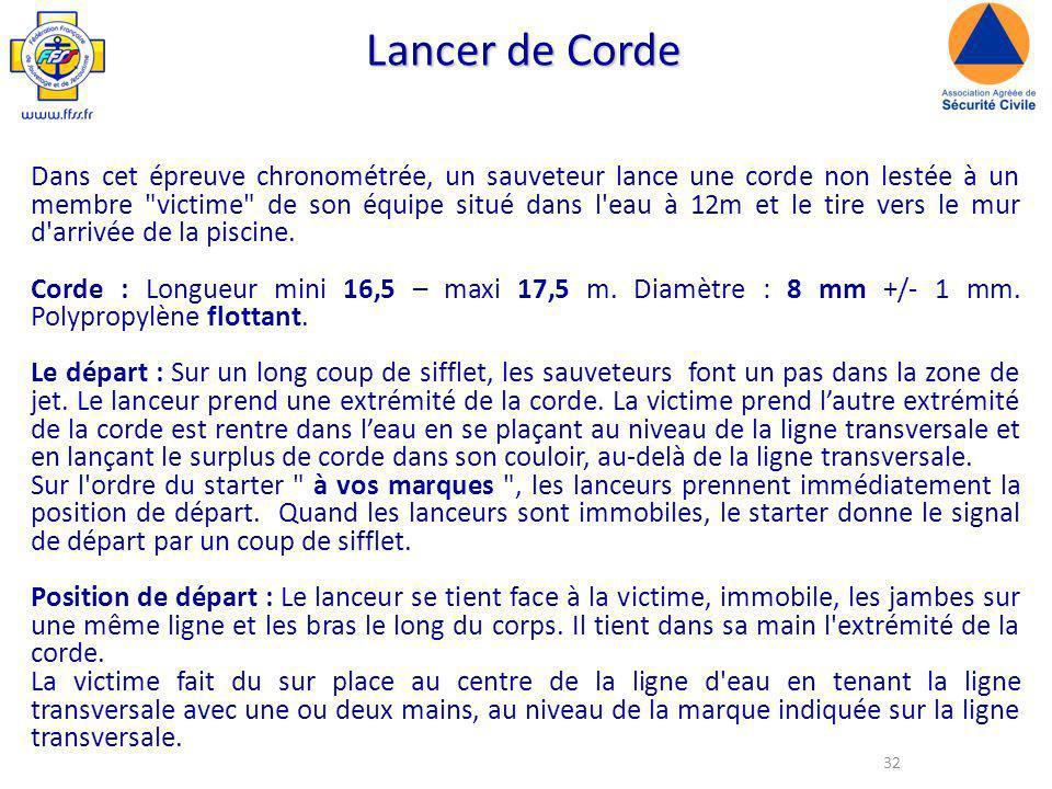 32 Lancer de Corde Dans cet épreuve chronométrée, un sauveteur lance une corde non lestée à un membre victime de son équipe situé dans l eau à 12m et le tire vers le mur d arrivée de la piscine.