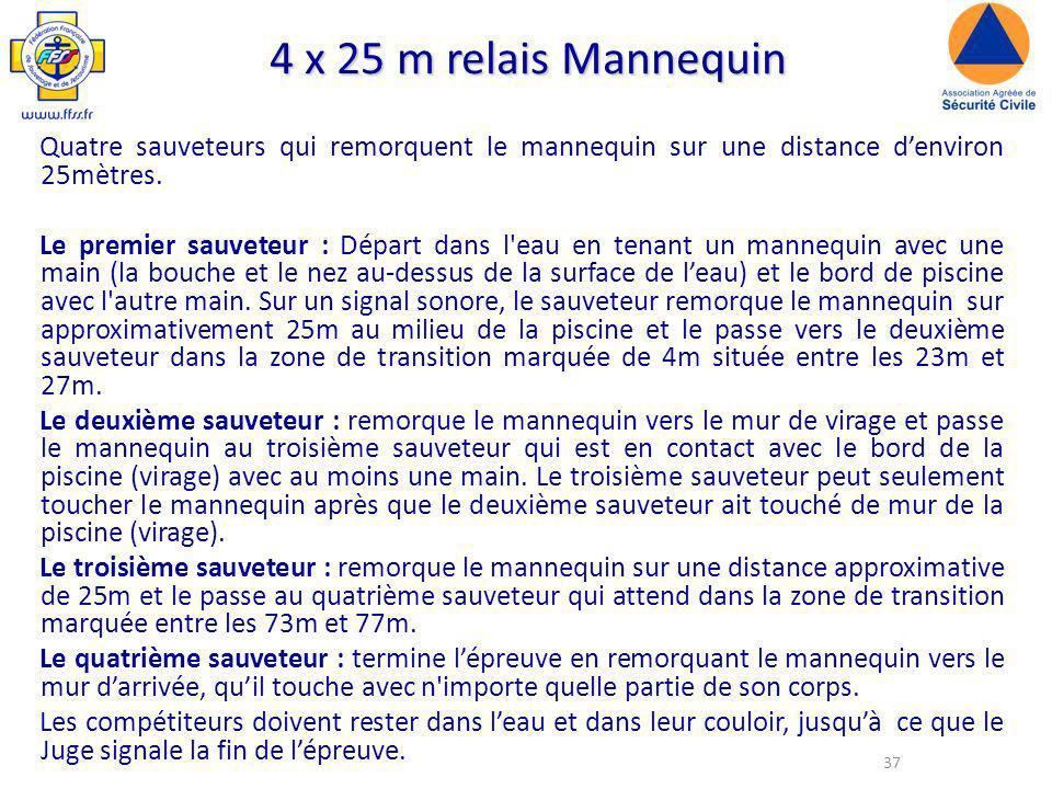 37 4 x 25 m relais Mannequin Quatre sauveteurs qui remorquent le mannequin sur une distance denviron 25mètres.
