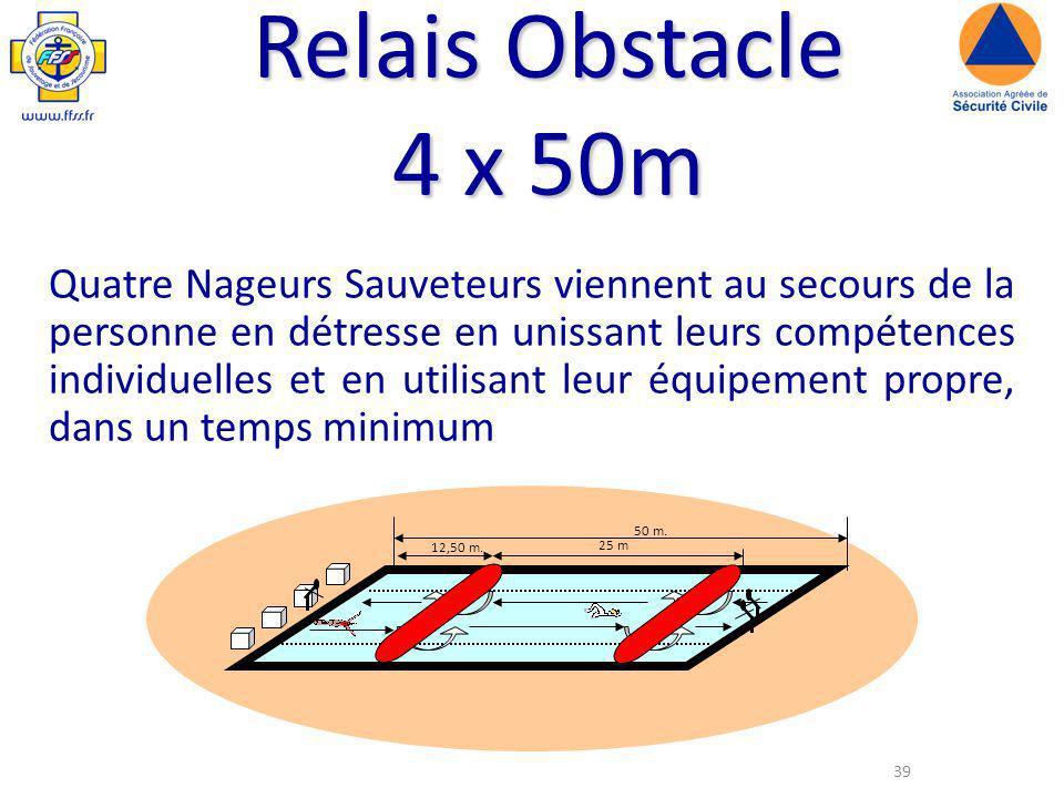 39 Relais Obstacle 4 x 50m Quatre Nageurs Sauveteurs viennent au secours de la personne en détresse en unissant leurs compétences individuelles et en utilisant leur équipement propre, dans un temps minimum 50 m.