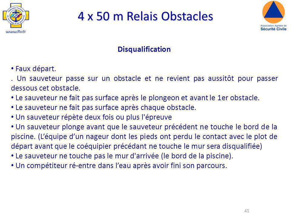 41 4 x 50 m Relais Obstacles Disqualification Faux départ..