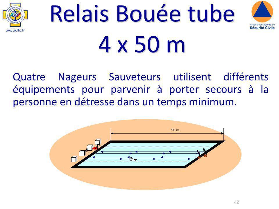 42 Relais Bouée tube 4 x 50 m Quatre Nageurs Sauveteurs utilisent différents équipements pour parvenir à porter secours à la personne en détresse dans un temps minimum.