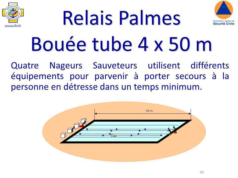 46 Relais Palmes Bouée tube 4 x 50 m Quatre Nageurs Sauveteurs utilisent différents équipements pour parvenir à porter secours à la personne en détresse dans un temps minimum.