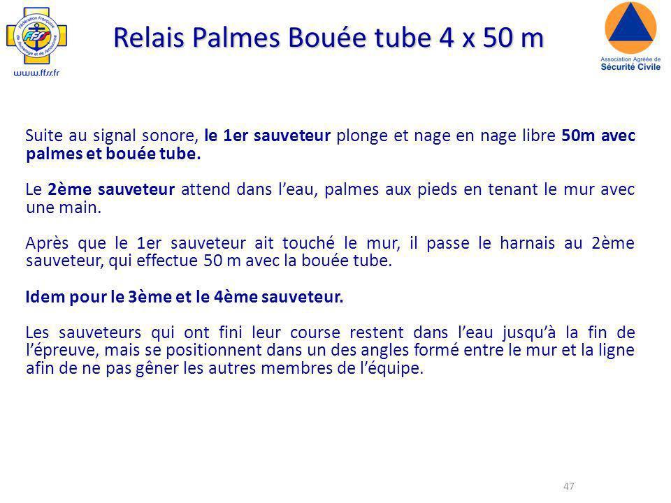 47 Relais Palmes Bouée tube 4 x 50 m Suite au signal sonore, le 1er sauveteur plonge et nage en nage libre 50m avec palmes et bouée tube.