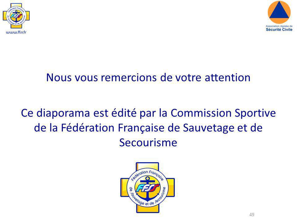 49 Nous vous remercions de votre attention Ce diaporama est édité par la Commission Sportive de la Fédération Française de Sauvetage et de Secourisme