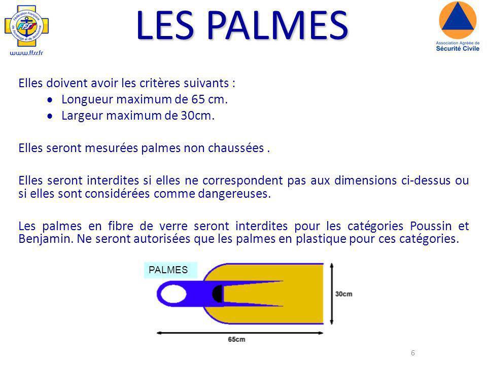 6 LES PALMES Elles doivent avoir les critères suivants : Longueur maximum de 65 cm.