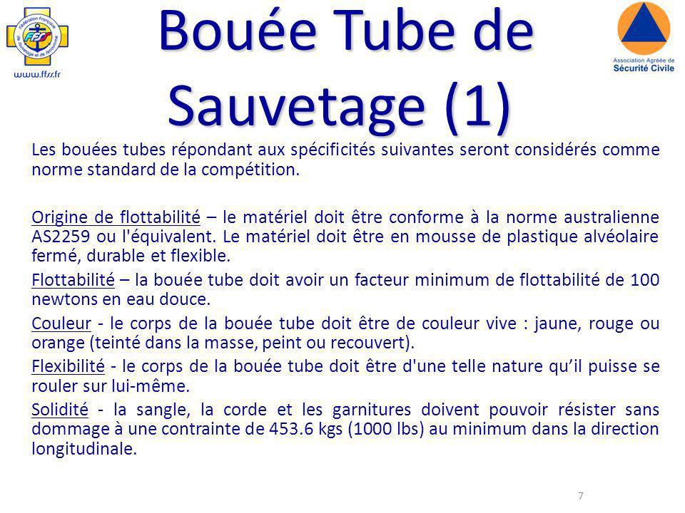 7 Bouée Tube de Sauvetage (1) Les bouées tubes répondant aux spécificités suivantes seront considérés comme norme standard de la compétition.