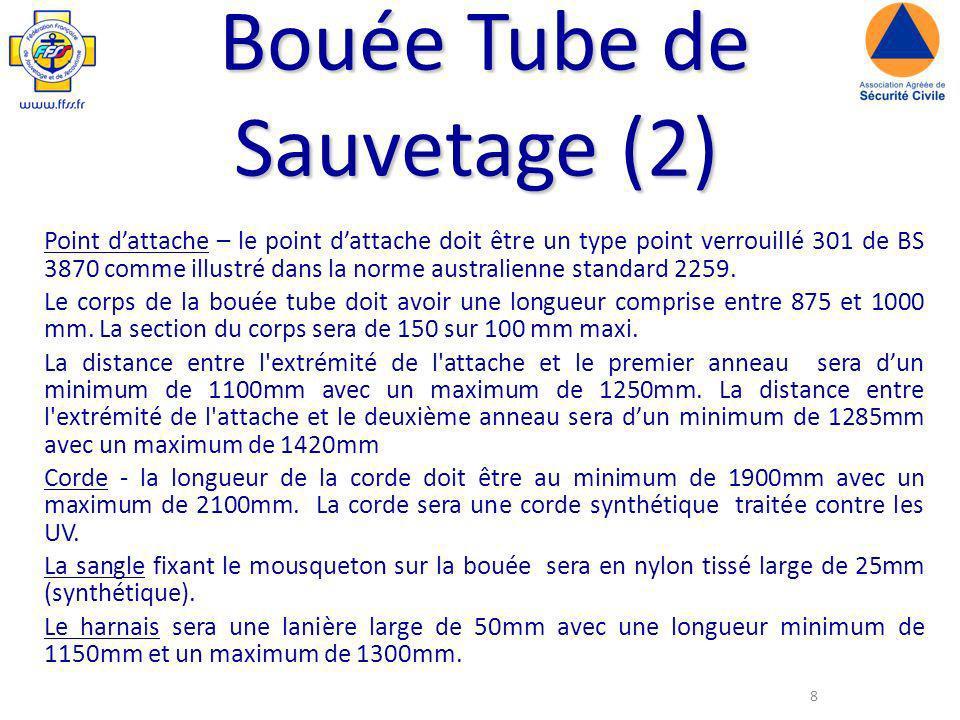 8 Bouée Tube de Sauvetage (2) Point dattache – le point dattache doit être un type point verrouillé 301 de BS 3870 comme illustré dans la norme australienne standard 2259.