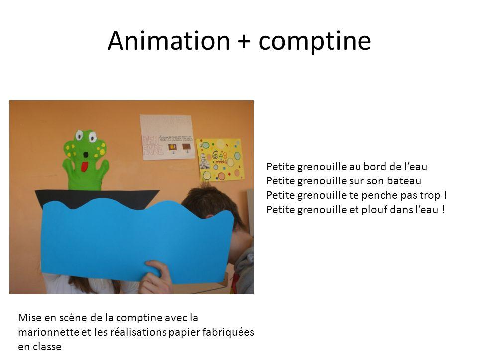 Animation + comptine Mise en scène de la comptine avec la marionnette et les réalisations papier fabriquées en classe Petite grenouille au bord de lea