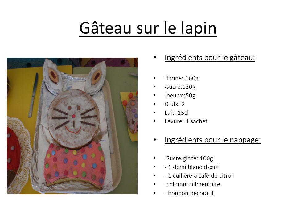 Gâteau sur le lapin Ingrédients pour le gâteau: -farine: 160g -sucre:130g -beurre:50g Œufs: 2 Lait: 15cl Levure: 1 sachet Ingrédients pour le nappage: