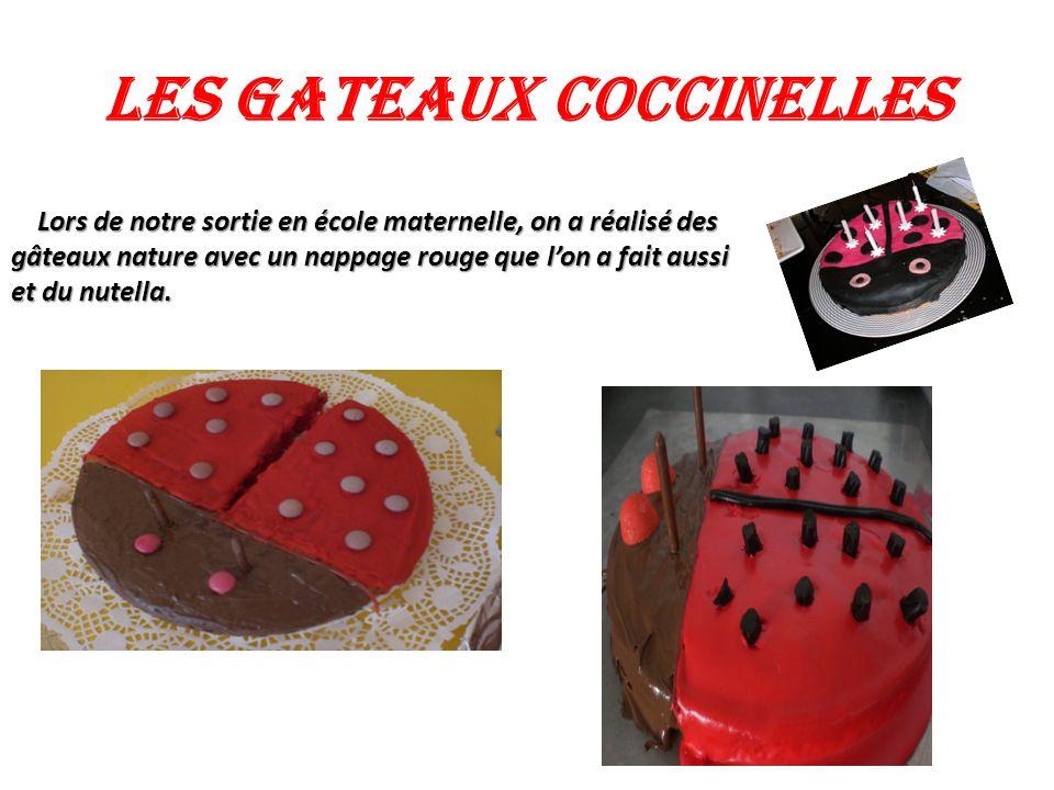 LES GATEAUX COCCINELLES. ². ² Lors de notre sortie en école maternelle, on a réalisé des gâteaux nature avec un nappage rouge que lon a fait aussi et