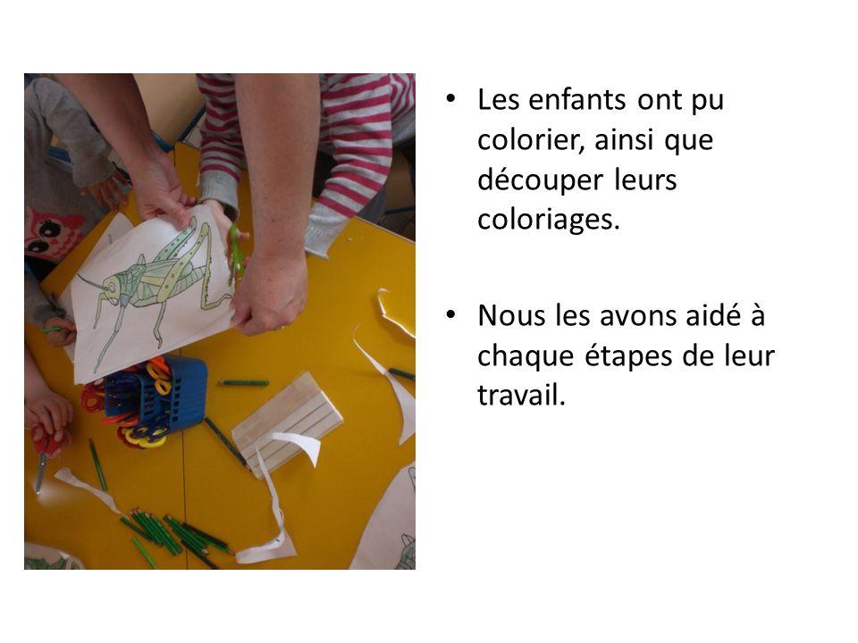 Les enfants ont pu colorier, ainsi que découper leurs coloriages. Nous les avons aidé à chaque étapes de leur travail.