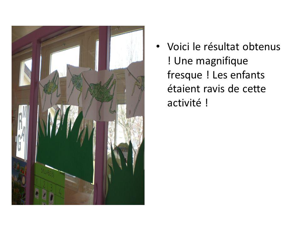 Voici le résultat obtenus ! Une magnifique fresque ! Les enfants étaient ravis de cette activité !