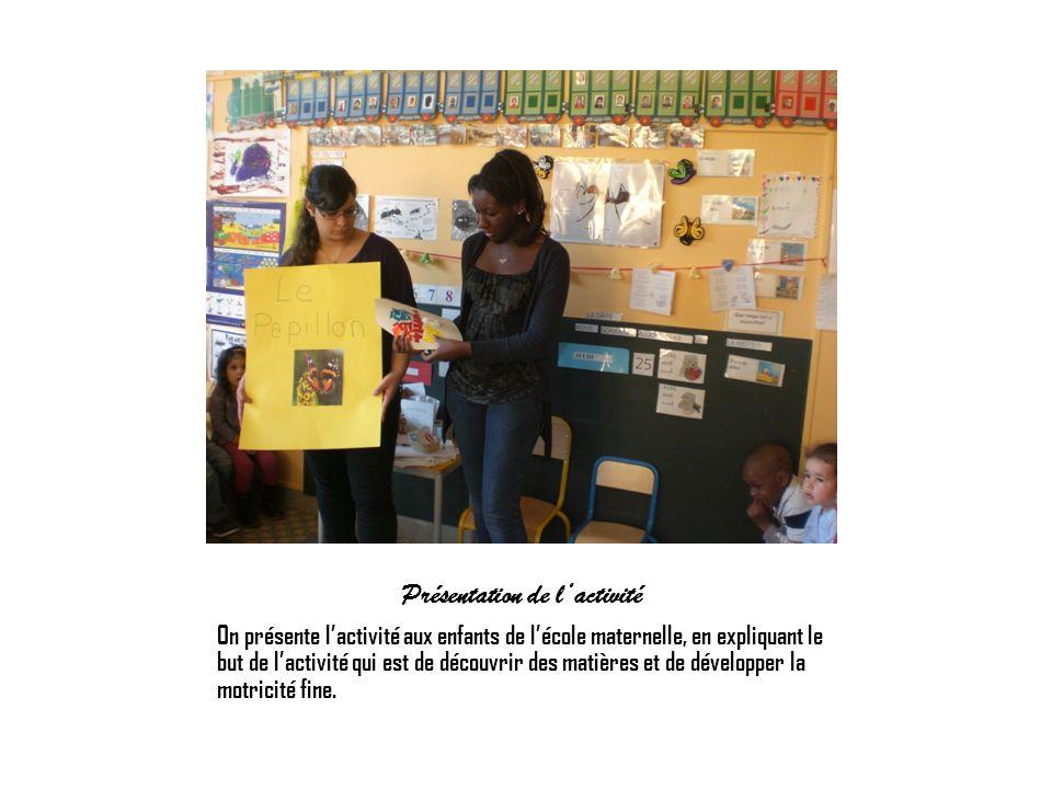 Présentation de lactivité On présente lactivité aux enfants de lécole maternelle, en expliquant le but de lactivité qui est de découvrir des matières
