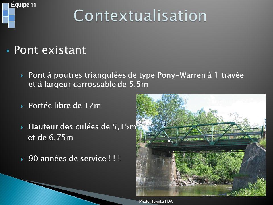 Équipe 11 Dimension des culées: OuestEst Mur: Hauteur8,5m10m Longueur9,8 m Semelle: Épaisseur1,2 m2 m Largeur5,5 m6,9 m Plan: