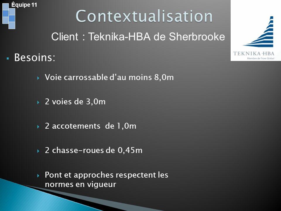 Client : Teknika-HBA de Sherbrooke Équipe 11 Voie carrossable dau moins 8,0m 2 voies de 3,0m 2 accotements de 1,0m 2 chasse-roues de 0,45m Pont et app