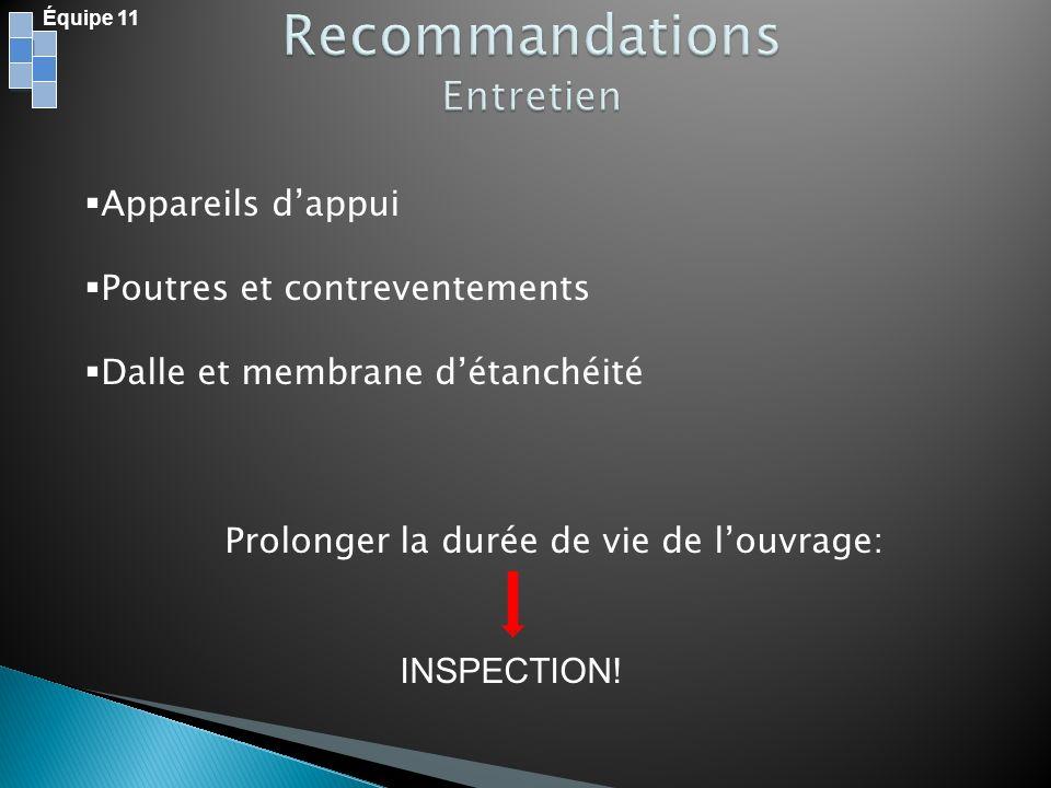 Équipe 11 Appareils dappui Poutres et contreventements Dalle et membrane détanchéité Prolonger la durée de vie de louvrage: INSPECTION!