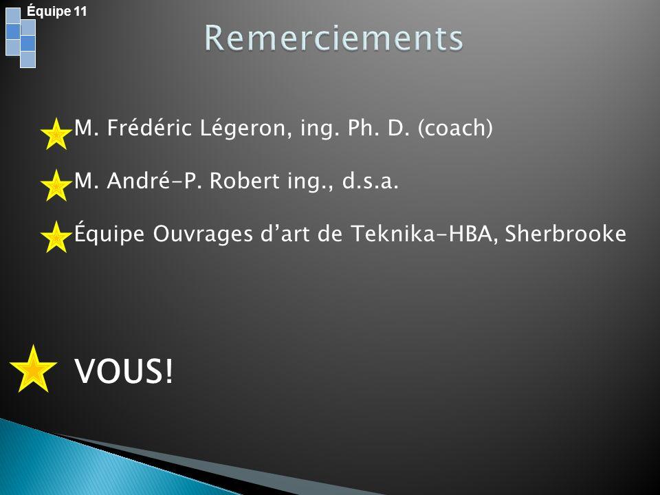 Équipe 11 M. Frédéric Légeron, ing. Ph. D. (coach) M. André-P. Robert ing., d.s.a. Équipe Ouvrages dart de Teknika-HBA, Sherbrooke VOUS!
