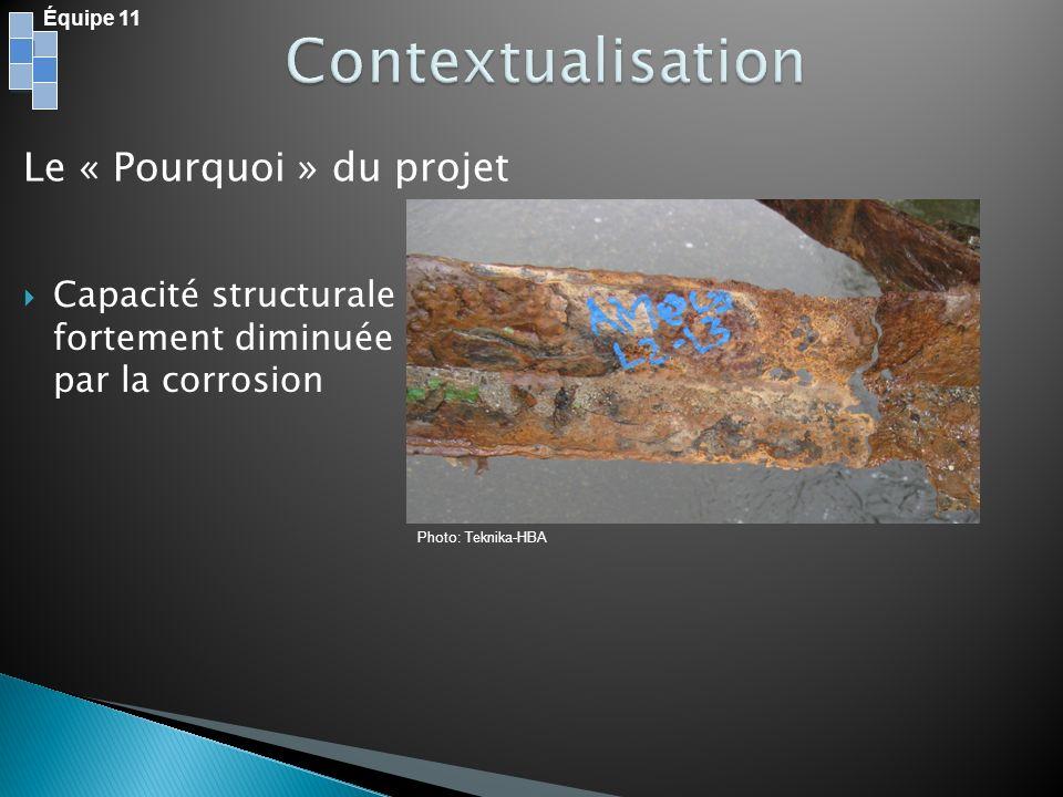 Équipe 11 Le « Pourquoi » du projet Capacité structurale fortement diminuée par la corrosion Photo: Teknika-HBA
