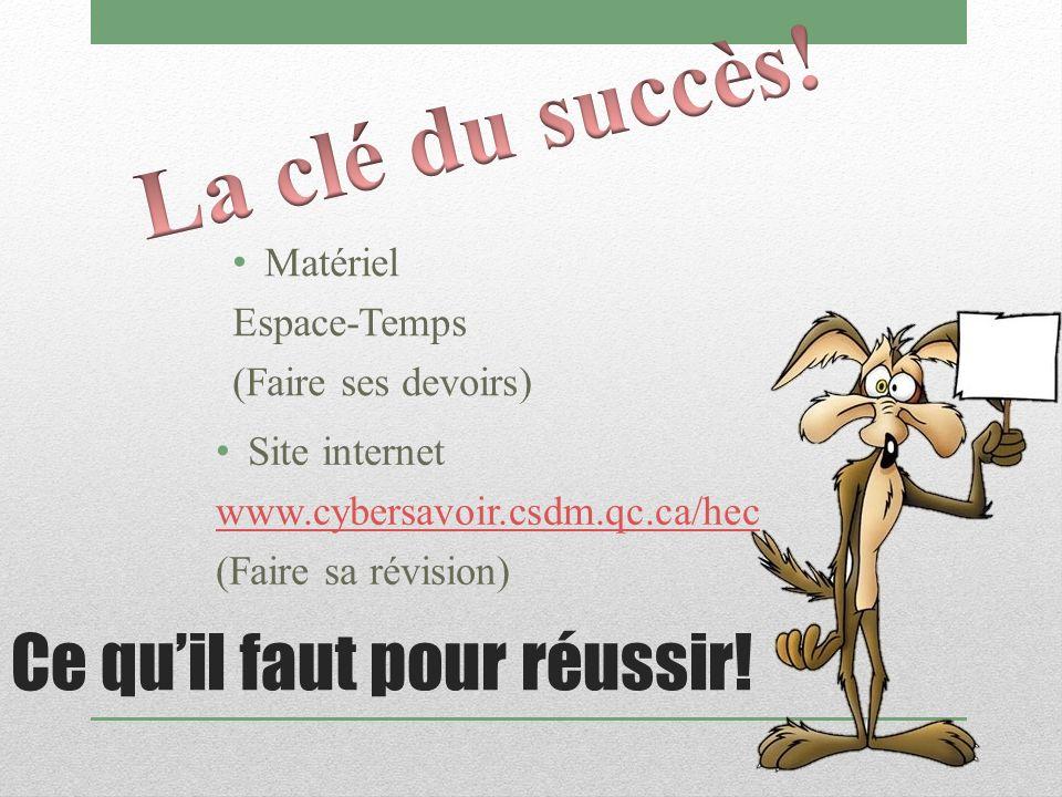 Ce quil faut pour réussir! Matériel Espace-Temps (Faire ses devoirs) Site internet www.cybersavoir.csdm.qc.ca/hec (Faire sa révision)